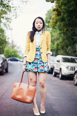 turquoise blue print BB Dakota skirt - yellow boyfriend Forever 21 blazer
