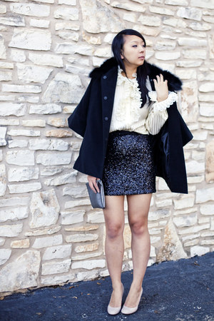 black sequined lucca couture skirt - black faux fur Ebay coat