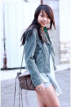 light blue suede asos jacket - light brown fringe Rebecca Minkoff bag - sky blue