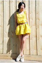 yellow American Apparel top - yellow asos skirt - tan Superga sneakers