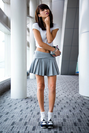 white Zara top - heather gray Zara skirt - navy YSL wedges
