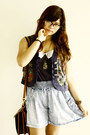 Black-leather-dooney-bourke-bag-blue-denim-shorts-shorts-navy-vintage-vest