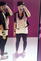 from Hong Kong vest - Baylene blouse - cotton on tights - Topshop necklace - fro