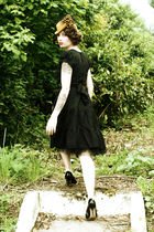 black Silk Bella dress - black thrifted 1950s Mary Janes shoes