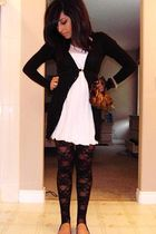 black American Apparel leggings - white Forever 21 dress - black Dynamite cardig