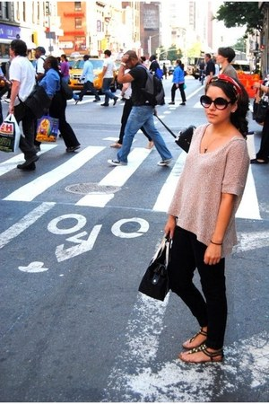 brown top NYC shirt - Nasty Gal sunglasses - Bakers sandals