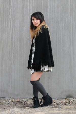 black Twin Cat Vintage jacket - white Twin Cat Vintage dress - gray Ebay socks -