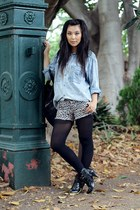 black unknown boots - light blue vintage shirt - black Mimco bag - light brown C
