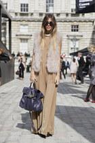 feathery Zara vest - silk H&M dress - blue alexa Mulberry bag