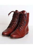 Maroon Lace Up Leather Vintage Boots