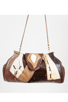 Vintage 80s 90s Leather Reptile Patchwork Shoulder Bag