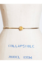 Vintage 60s 70s Thin Gold Belt w/ Rose Flower Buckle