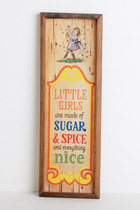 Vintage 60s 70s Little Girls Are Made of Wall Plaque 