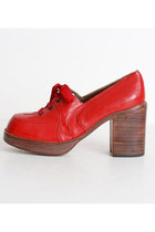 Size 5 Vintage 60s 70s Red Leather Lace Up Platform Shoes 35