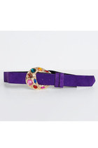 Vintage 90s Purple Suede Gold Jeweled Buckle Belt