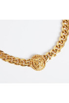 Vintage 80s 90s Gold Chain Lion Statement Necklace
