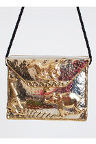Vintage 90s Safari Gold & Silver Metal Box Shoulder Bag
