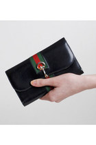 Vintage 60s 70s Black Leather Gucci Stripe Checkbook Wallet