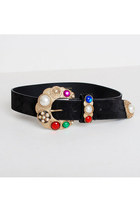 Vintage 80s 90s Black Suede Gold Jeweled Buckle Belt