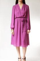 vintage 1970s dress / 70s purple surplice dress / Roberta Purple Striped Dress