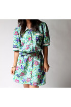 Vintage 70s DARIA Floral Shirt Dress (s - m)