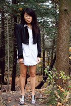 silver Nine West heels - ivory Aritzia shirt - black unknown blazer - black