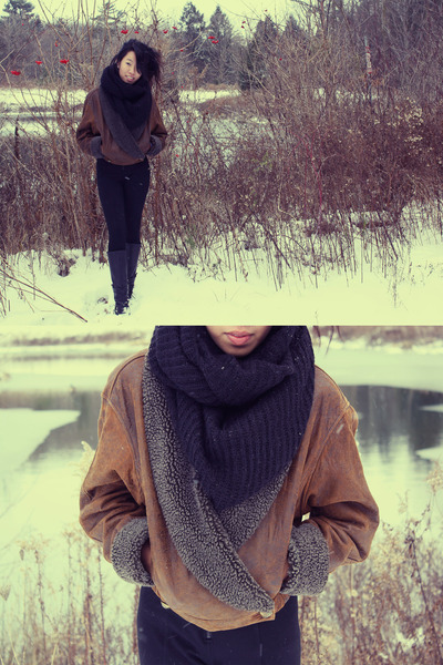 black H&amp;M scarf - dark brown charity shop jacket - black boots