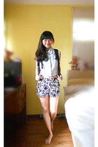 white floral print gmarket shorts - black backpack Shenzhen bag