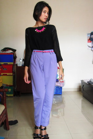 camel unbranded bag - light purple unbranded pants - hot pink unbranded necklace