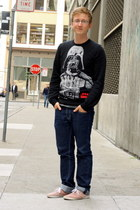 black star wars H&M sweater - coral Urban Outfitters shoes - navy Levis jeans