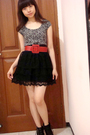Gray-zara-top-black-zara-skirt-red-body-soul-belt