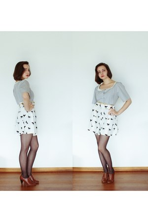 horse print asoscom shorts - made by me blouse - brown H&M heels