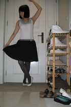 top - skirt - tights - shoes