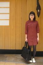 lowrys farm dress - Muji shoes - headporter tanker purse - glasses - accessories