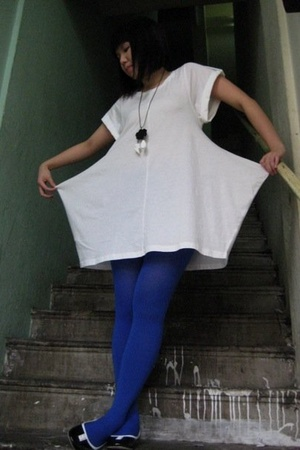 blue tights - black bkk shoes - white bkk dress
