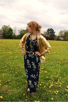 blue vintage dress - black Aldo shoes - gold American Apparel jacket - gold vint