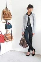 navy Bluenotes jeans - blue Zara blazer - dark brown DKNY bag