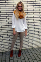 ernstings family scarf - Zign boots - Zara jumper - Vila pants