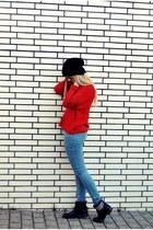 red lindex jumper - black Akira boots - sky blue just femme jeans