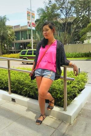 hot pink blouse - blue cardigan