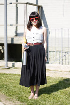 ruby red sunglasses - black skirt - brick red belt - white top