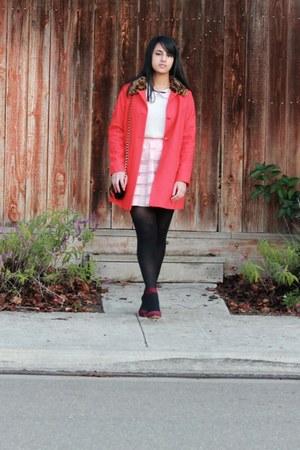 red asos coat - cream H&M sweater - bubble gum asos skirt - crimson Zara heels