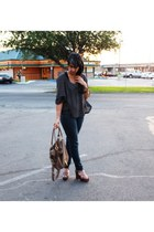 dark gray H&M sweater - light brown asos bag - dark brown Michael Kors wedges