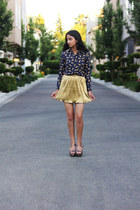 navy Unconfined Style top - gold Forever 21 skirt - brown Michael Kors wedges