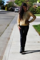 gold H&M sweater - black Urban Outfitters boots