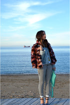 Zara jacket - River Island coat - bought france bag - Bershka pants - Zara heels