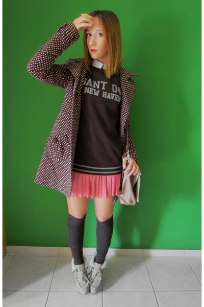 bubble gum skirt - Guess boots - Zara coat - dark brown Gant sweater - asos bag