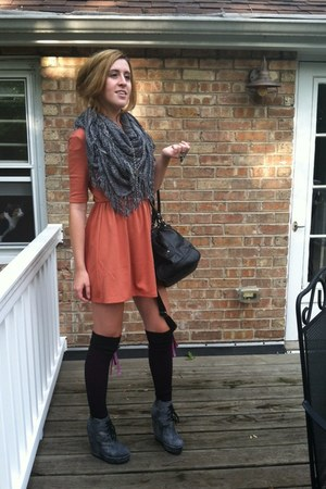 Forever 21 scarf - Forever 21 dress - big buddah bag - Mossimo socks