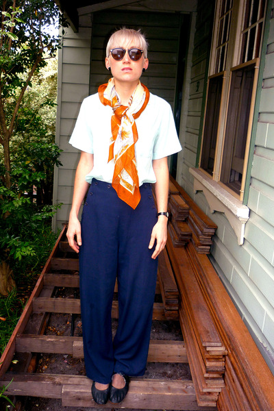 aquamarine cotton vintage blouse - burnt orange scarf