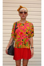 Red-rayon-diy-dress-mustard-vibrant-vintage-blouse